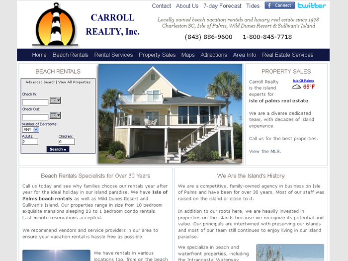 RMS vacation rental software drives websites in Charleston.