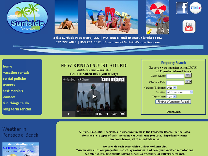 RMS vacation rental software drives websites in Pensacola!